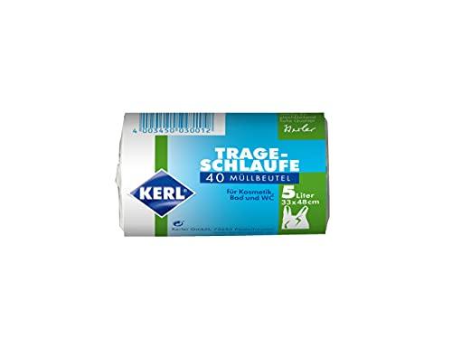 KERL Müllbeutel 5 l, 10 Rollen à 40 Stück, Trageschlaufe, für Kosmetikeimer, 33 x 48 cm