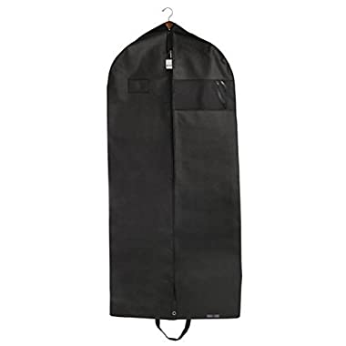 "Bags for Less Premuim Quality Black Garment Travel and Storage Breathable Bag 26"" x 60  x 5"" with Zipper & Metal Eyehole and Carry Handles for Folding for Suits, Tuxedos, Dresses, Coats & More"