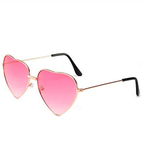 Gafas duraderas Gafas de sol de marca gafas de diseñador del controlador en forma de corazón marco de las gafas de sol de las mujeres color de rosa de metal reflectante del espejo de la lente de moda