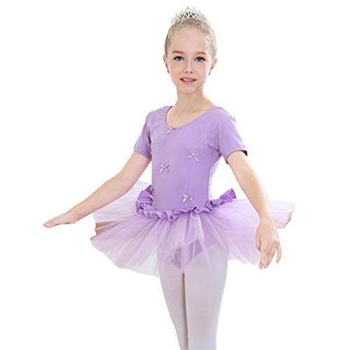 Kaiyei Niñas Vestido de Danza de Algodón Elegante con Hebilla Oculta Ropa de Deporte Gimnasia con Falda Corta de Encaje Clásico Bonito Tutú de Ballet Confortable Morado M