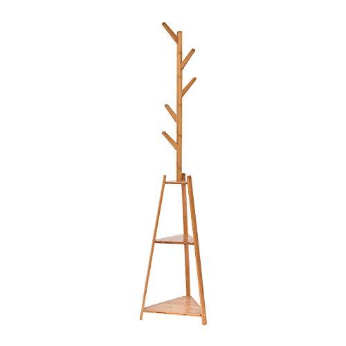 Perchero Hododou 2 en 1 de bambú para abrigos y sombreros, 5 ganchos para colgar y 2 estantes de almacenamiento, árbol para pasillo