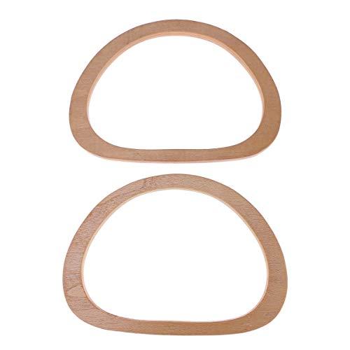 Healifty Reemplazo ovalado de 2 piezas con asa de madera para bolso hecho a mano