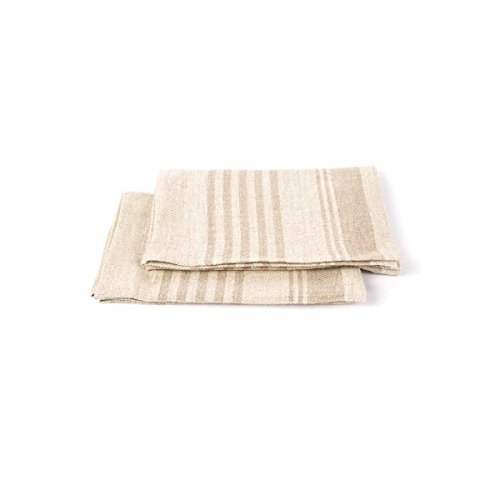 LinenMe Serviettes en Lin Linum, Hand and Guest, Set de 2, Lin Naturel, 47x70 cm