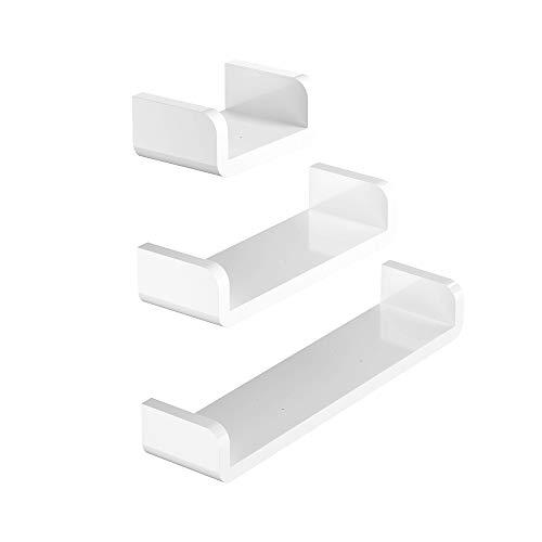 KUNGYO El Plastico Blanco Estante de Pared Baño, Succión Rústico en Forma de U Estantes Flotantes Montaje en Pared Baño Organizador Ducha Caddie, Conjunto de 3