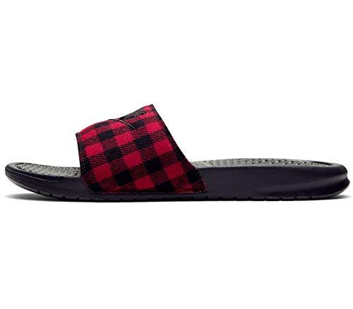 Nike Benassi JDI SE TXT 1, Zapatos de Playa y Piscina Hombre, Multicolor (Black/Black/University Red 002), 48.5 EU
