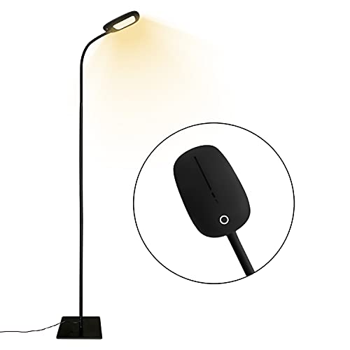 LED Floor Lamp Modern Reading Standing Lamp Dimmable Gooseneck Floor Lamp, 3 Color Temperatures & 5 Level Brightness, Long Lifespan High Lumens Touch Control Floor Light for Living Room Bedroom Office
