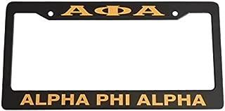 Alpha Phi Alpha Black Plastic License Plate Frame Greek Fraternity Letter For Front Back of Car