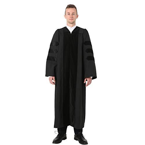 GraduatePro Doctorate Graduation Gown Economy Academic Doctoral PhD Regalia with Black Piping 57 Plus