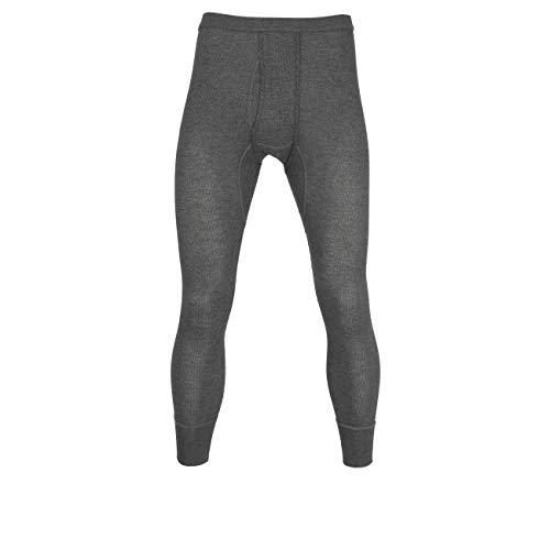 Ceceba Herren Lange Unterhose, Baumwolle, Doppelripp, grau, Uni, mit Bündchen, offener Eingriff 7