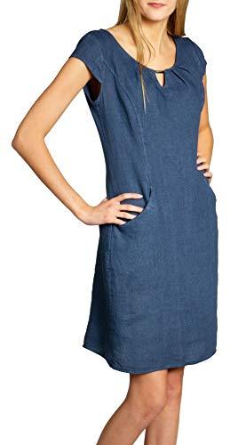 Caspar SKL020 knielanges Damen Sommer Leinenkleid mit eleganter Metallspange bis Größe 50, Farbe:Jeans blau, Größe:XXL - DE44 UK16 IT48 ES46 US14