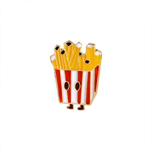 JTXZD broche Hamburger Fast Food Tie Pin Hamburger emaille pin latte cake pizza badge pompons button chocolade drank watermeloen brochure kinderen