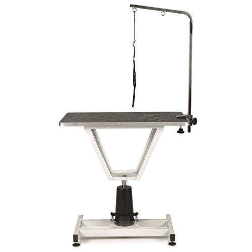 """Master Equipment PetEdge Value Lift Hydraulic Grooming Table – Foot-Operated Lift Table Supports 220 Lbs, 37.5"""" Height"""