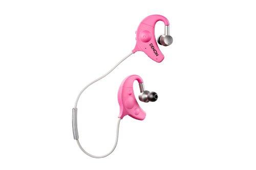 Denon AH-W150 - Auriculares de clip para deporte (con micrófono, banda para cuello, 250 mW, Inalámbrico, Bluetooth, 7.6 m) rosa