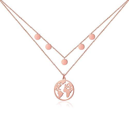 Good.Designs Weltkugel Kette mit 5 Plättchen I Mehrreihige Damen Halskette (verstellbar) mit Weltkette (Rosé)