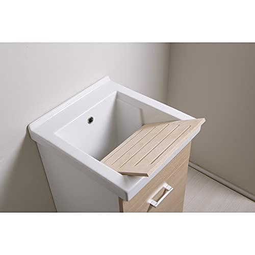 ellemmeci Mobile lavatoio 45x50 con Vasca in Ceramica e tavola in Legno Anta Colore : Beige