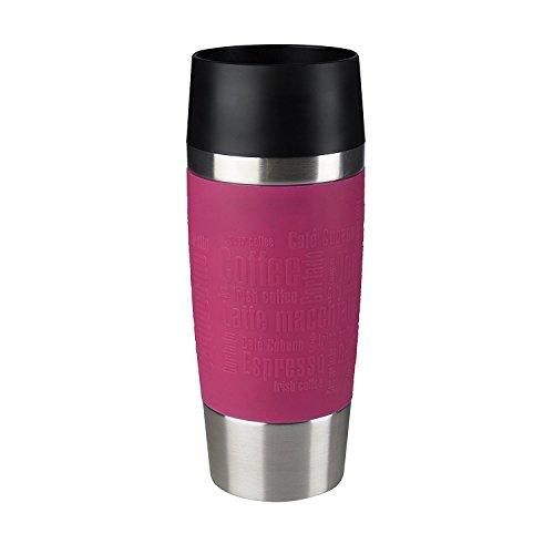Emsa 513550 Travel Mug Bicchiere Termico con Chiusura Quick Press, Acciaio Inossidabile, Lampone, 0,36 L