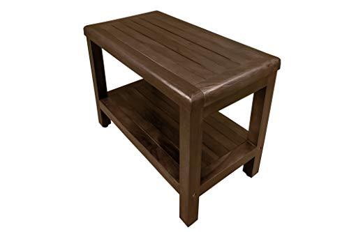 """Decoteak 24\"""" Teak-Shower-Bench with Shelf- Adjustable Height Feet-Bath,-Shower, Sauna, Locker-Room"""