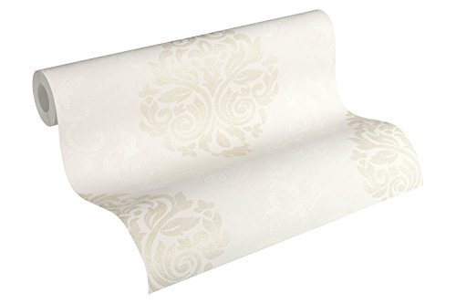 A.S. Création Vliestapete Memory 3 Tapete neo-barock 10,05 m x 0,53 m creme metallic weiß Made in Germany 953727 95372-7