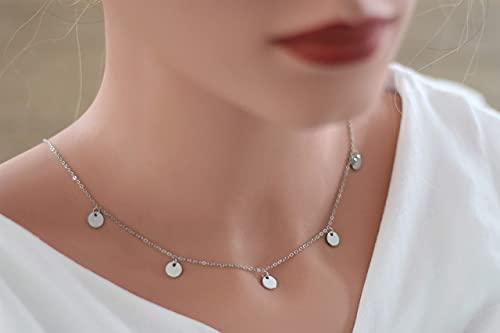 Halskette Edelstahl mit 5 Plättchen Farbe silber, Geschenkidee, Statement Kette mit Anhängern