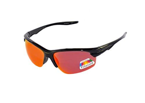 rainbow safety Kinder Sportbrille Sonnenbrille Polarisiert 8+ Jahre UV400 Schutz 3302 Schwarz verspiegelt Rot