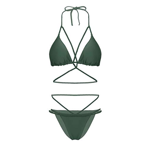 PUJUFANG-PHONE CASE Bikini atractivo para mujer, con sujetador en V, triángulo, ropa interior verde militar M