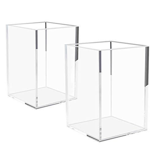 bobotron Juego de 2 soportes para bolígrafos de acrílico transparente, para escritorio, artículos de papelería, organizador de escritorio para oficina o mesa
