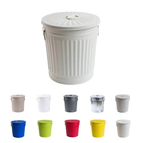 Jinfa Retrodesign Mülleimer mit Deckel | Cremeweiß | Ø 36 cm, Höhe 36,5 cm, 35 Liter