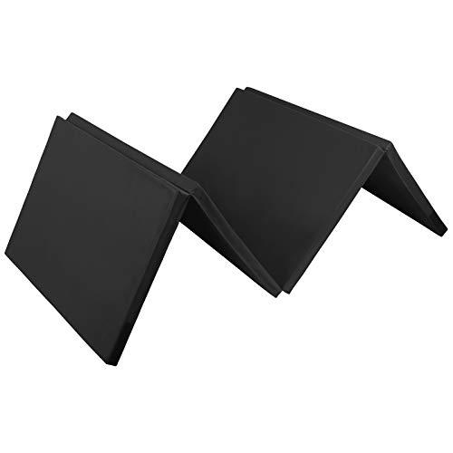ALPIDEX Klappbare Gymnastikmatte Turnmatte für zuhause 300 x 120 x 5 cm für Kinder und Erwachsene - mit Klettecken, 3fach klappbar, Farbe:schwarz