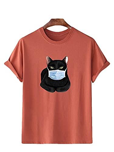 Deportiva Camisa Hombre Verano Moderno Básico Cuello Redondo Hombre T-Shirt Moda Personalidad Animal Estampado Casuales Camisa Urbano Casual Regular Fit Hombre Manga Corta I-Maroon M