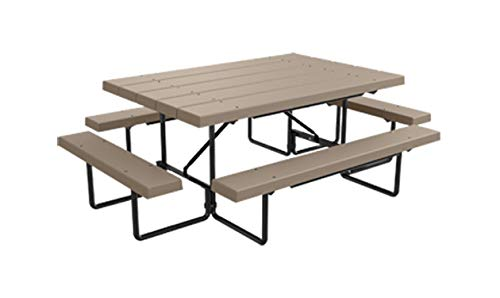 Kirby Built Products 6' Plastic Maximum Seating BarcoBoard Table - Seats 10 People (Desert Tan)