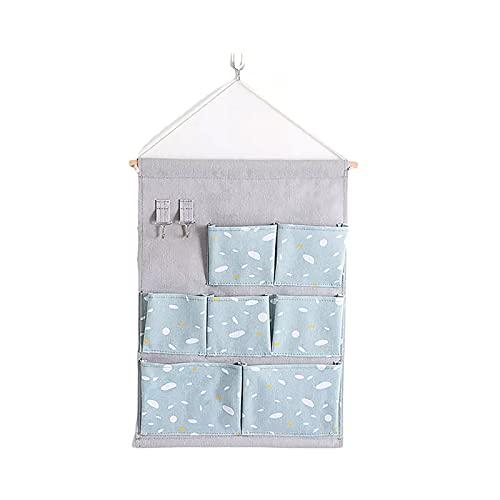 Parshall Bolsa de almacenamiento colgante para guardarropa de bolsillo, grande, a prueba de polvo, plegable, portátil para el hogar, cálido día azul