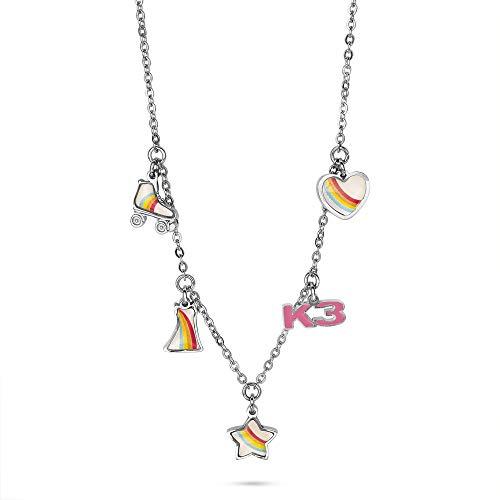 Twice As Nice Collection K3, halsketting met rolschaatsen, jurk, hart, ster en K3, meerkleurig, 32 cm + 8 cm