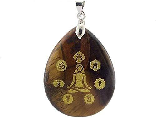 ZHIFUBA Co.,Ltd Collar de Moda Trendy 7 Chakra Piedra Natural Mujeres Collar de energía Gota de Agua Obsidiana Azul Arena Ojo de Tigre Curación Meditación Hombres Collares
