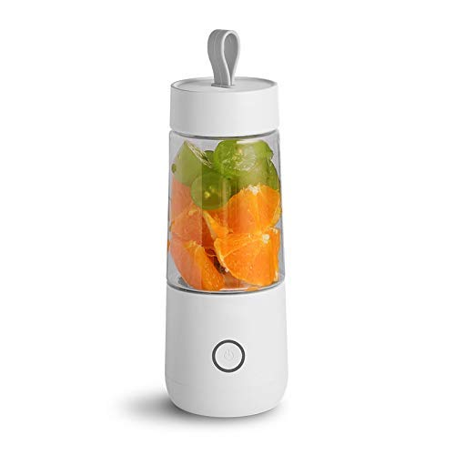 Portable Juicer Electric USB Rechargeable Smoothie Blender Machine Mixer Mini Juice Maker Fast Food Processor Mobile Mixer 350ML,White (Color : White)