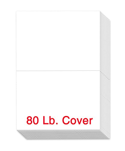 Blank Half Fold Greeting Cards - 8.5 x 5.5 Inch Heavyweight White Card Stock Paper - for Birthday, Wedding, Holiday, Anniversary Invitations, and All Occasions - Bulk Pack of 100 Cards