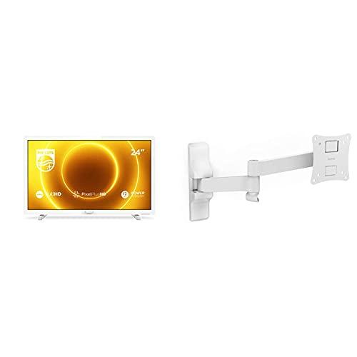 Philips TV 24PFS5535/12 Televisor de 24 Pulgadas TV LED, Color Blanco + Hama, Soporte para TV, Estándar VESA