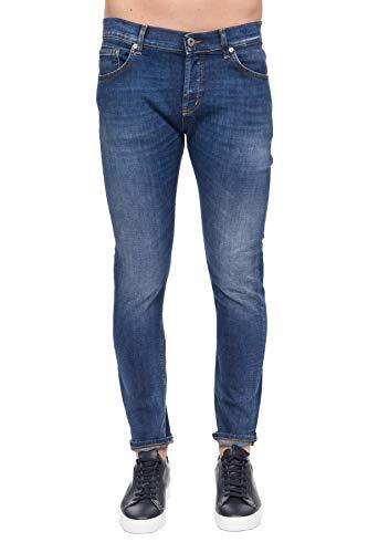 Dondup Jeans, Modell Mius, Slim Fit, 3 Fronttaschen, 2 Taschen auf der Rückseite, Metalllogo auf der Rückseite, Druckknöpfe auf der Vorderseite, aufklappbares Fach, Blau 36