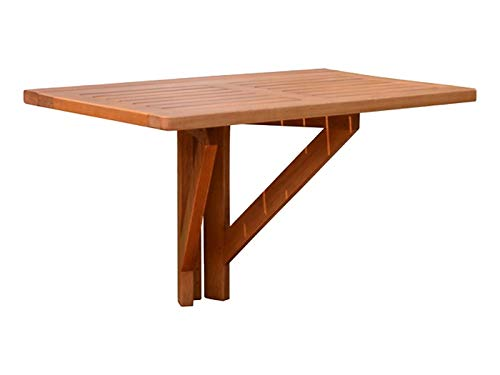 Spetebo Eukalyptus Balkontisch - 60x40 cm - Holz Klapptisch Balkon Tisch Hängetisch klappbar