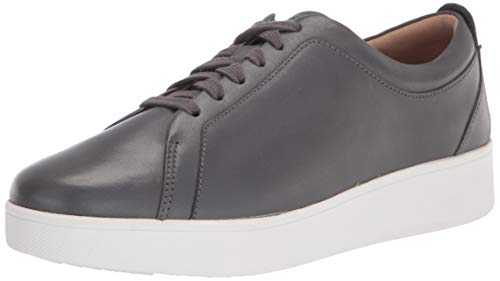 FitFlop Women's Rally Tennis Sneaker-Leather, Dark Grey, 8.5 Narrow