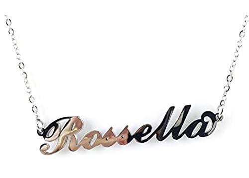 BENNY2000 Collana Donna con Nome in Acciaio, in CORSIVO Elegante, Girocollo Regolabile Anallergico Color Argento- Arriva con Confezione Regalo (ROSSELLA)