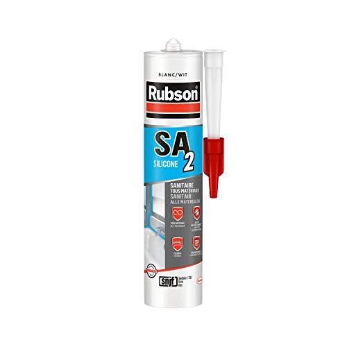 Rubson SA2 Sanitaire Blanc, Mastic silicone 2-en-1 pour émail et matériaux de synthèse, Joint sanitaire renforcé en antifongiques, finition lisse & brillante, 280 ml