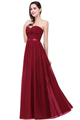MisShow Damen Abendkleider elegant für Hochzeit lang Ärmellos Ballkleider Abiballkleider Prom Dress Weinrot 38