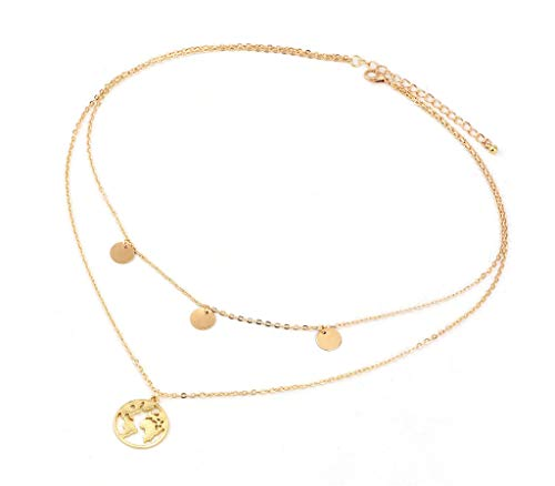 nail Tip Halskette Weltkarte mit Goldplättchen | 40 + 5 cm | Edelstahl Modeschmuck Damen-Kette mit Anhänger | Gold