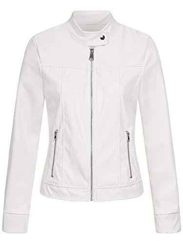 Hailys Damen Kunstlederjacke Dora Kleiner Stehkragen, Biker-Style LF-25009 White M
