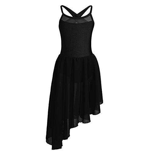 inlzdz Ballettkleid für Mädchen, gekreuzte Rückseite, Ballett, Tutu, Kleid mit Songtext 11-12 Jahre Schwarzer, unregelmäßiger Saum