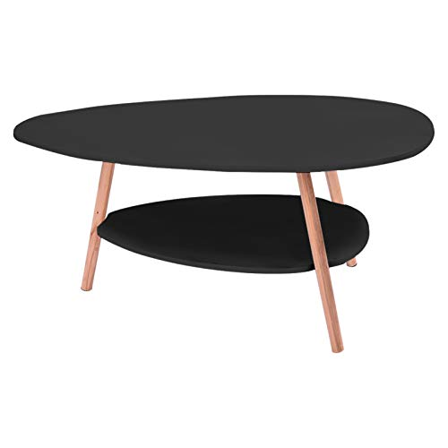 Oval Coffee Table for Living Room, Household Two-Story Small Oval Top Table, Modern Black End Table with Wooden Legs for Living Rooms, Lounges, Study, Balcony, Easy to Assemble(90x50x42 cm)