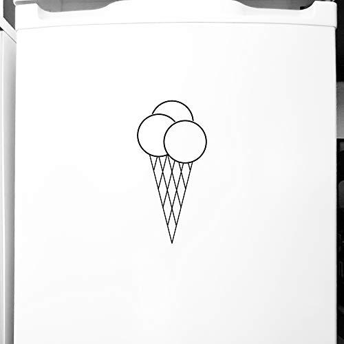 GreenIT 20cm Eistüte Waffel EIS Tüte Aufkleber Tattoo Deko Folie für Theke Tür Schaufenster (schwarz)