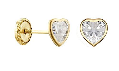 COEUR-Orecchini in oro giallo 9 carati, sistemi a vite, passeggini www.diamants-perles.com