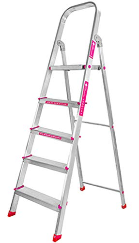 Casa Copenhagen Eternal Classic 2019, Ultra-Stable 5-Step Foldable Aluminium Ladder, 160 cm/5.25 ft/10 X 10 inch, Silver