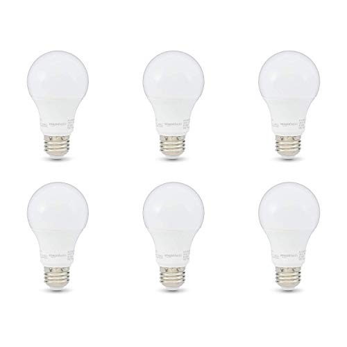 AmazonBasics 60W Equivalent, Daylight, Non-Dimmable, 10,000 Hour Lifetime, A19 LED Light Bulb | 6-Pack
